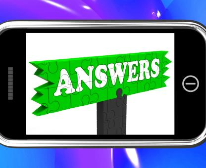 Free Stock Photo of Answers Sign On Smartphone Shows Support