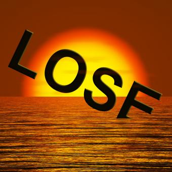 Free Stock Photo of Lose Word Sinking Representing Defeat And Loss