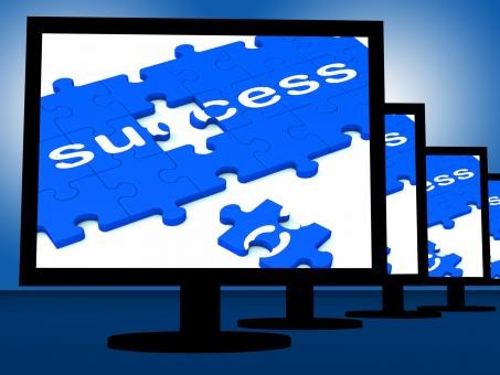 Free Stock Photo of Success On Monitors Showing Progress
