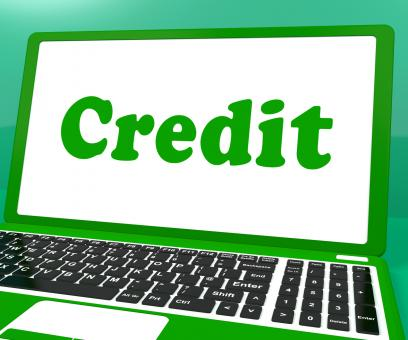 Free Stock Photo of Credit Laptop Shows Finance Or Loan For Purchasing