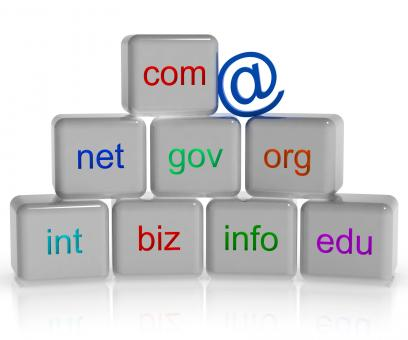 Free Stock Photo of Com Net Org Blocks Shows Internet Or Web Sites