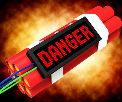 Free Stock Photo of Danger Dynamite Sign Means Caution Or Dangerous