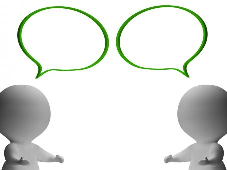 Free Stock Photo of Speech Bubbles And 3d Characters Showing Discussion And Gossip
