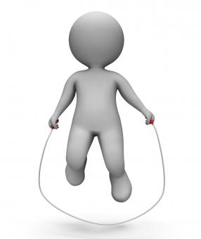 Free Stock Photo of Skipping Characters Shows Jumping Rope And Exercise 3d Rendering