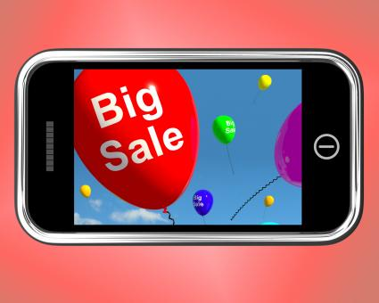 Free Stock Photo of Big Sale Balloons On Mobile Phone Shows Promotions And Reductions
