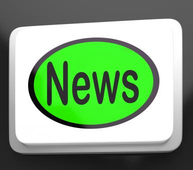 Free Stock Photo of News Button Shows Newsletter Broadcast Online