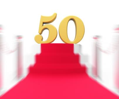 Free Stock Photo of Golden Fifty On Red Carpet Displays Fiftieth Cinema Anniversary Or Rem
