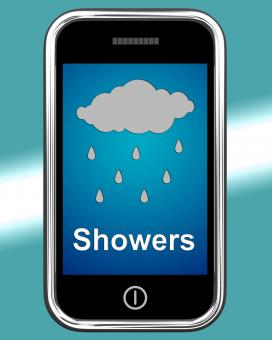 Free Stock Photo of Showers On Phone Means Rain Rainy Weather
