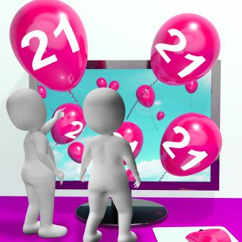 Free Stock Photo of Number 21 Balloons from Monitor Show Online Invitation or Celebration