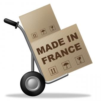 Free Stock Photo of Made In France Shows Shipping Box And Cardboard
