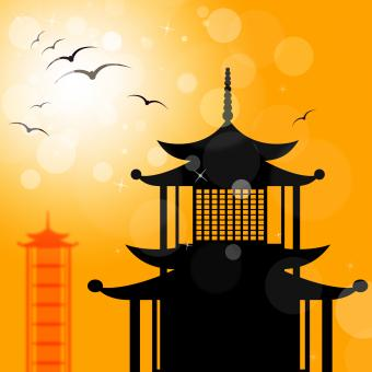 Free Stock Photo of Pagoda Silhouette Indicates Religion Asia And Oriental