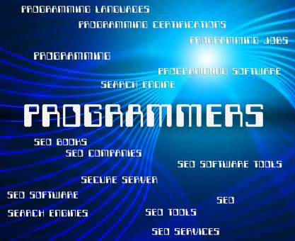 Free Stock Photo of Programmers Word Shows Programming Job And Software