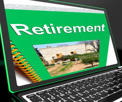 Free Stock Photo of Retirement Book On Laptop Showing Pension Plans