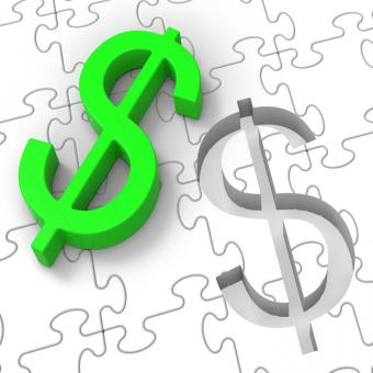 Free Stock Photo of Dollar Puzzle Showing American Incomes