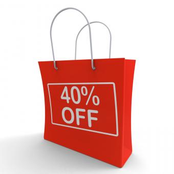 Free Stock Photo of Forty Percent Off Shopping Bag Shows 40 Reduction