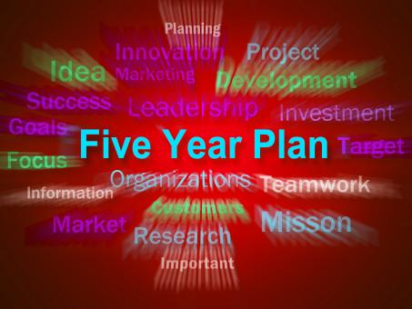 Free Stock Photo of Five Year Plan Brainstorm Displays Strategy For Next 5 Years