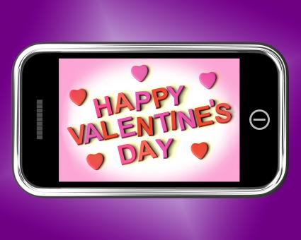 Free Stock Photo of Happy Valentines Day Message On Mobile Shows Love