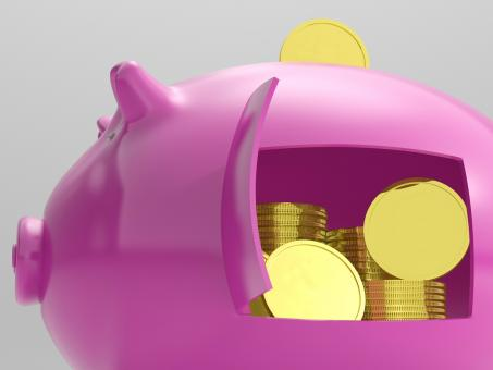 Free Stock Photo of Coins In Piggy Shows Savings And Investment