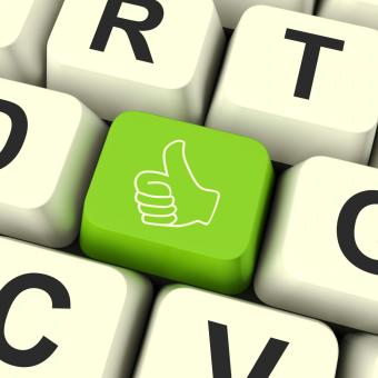 Free Stock Photo of Thumbs Up Computer Key Showing Approval And Being A Fan