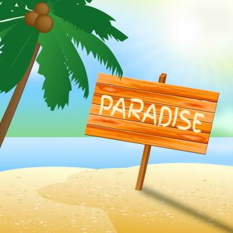 Free Stock Photo of Paradise Vacation Shows Idyllic Beaches 3d Illustration