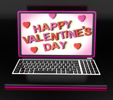 Free Stock Photo of Happy Valentines Day On Laptop Showing Celebrating Love