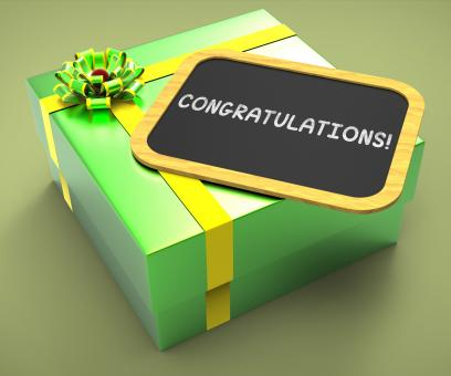 Free Stock Photo of Congratulations Present Card Shows Accomplishments And Achievements