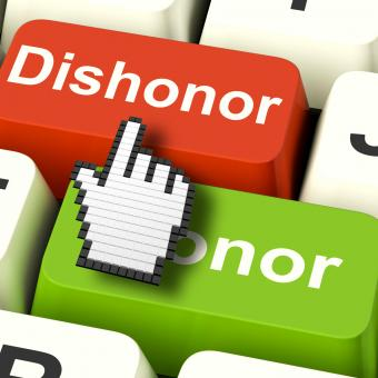 Free Stock Photo of Dishonor Honor Computer Shows Integrity And Morals