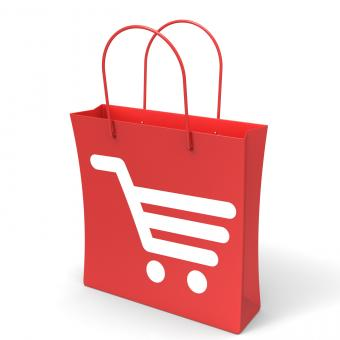 Free Stock Photo of Shopping Cart Bag Showing Basket Checkout