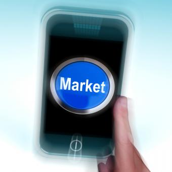 Free Stock Photo of Market On Mobile Phone Means Marketing Advertising Sales