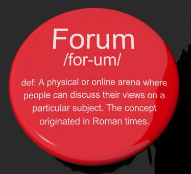 Free Stock Photo of Forum Definition Button Showing A Place Or Online Arena For Discussion