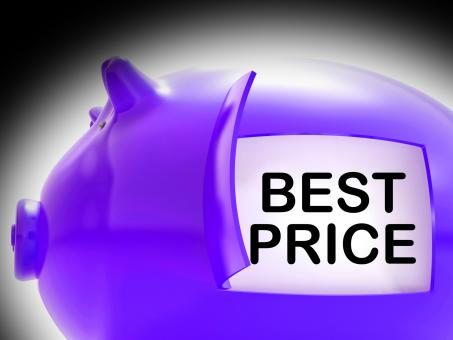 Free Stock Photo of Best Price Piggy Bank Message Shows Great Savings