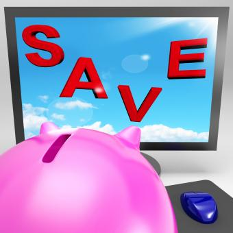Free Stock Photo of Save On Monitor Shows Big Promotions