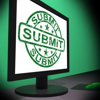Free Stock Photo of Submit Monitor Shows Apply Submission Or Application