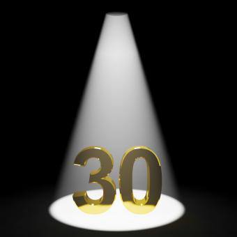 Free Stock Photo of Gold 30th Or Thirty 3d Number Representing Anniversary Or Birthday