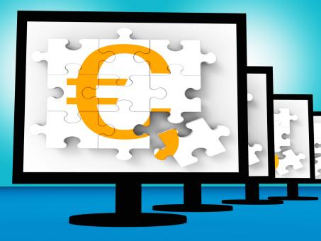 Free Stock Photo of Euro Symbol On Monitors Showing Europe Profits