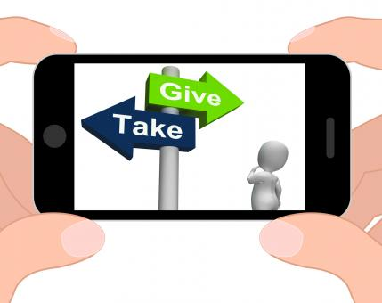 Free Stock Photo of Give Take Signpost Displays Giving and Taking