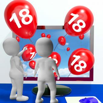 Free Stock Photo of Number 18 Balloons from Monitor Show Online Invitation or Celebration