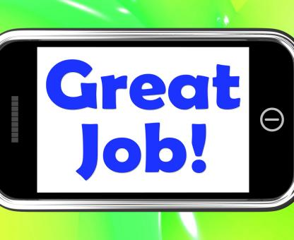 Free Stock Photo of Great Job On Phone Shows Praise Appreciation Or Approval