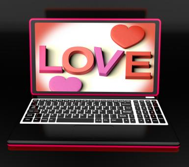 Free Stock Photo of Love On Laptop Shows Romance