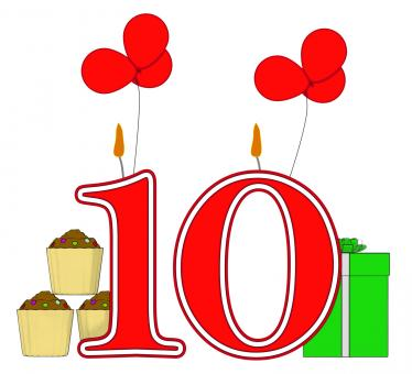 Free Stock Photo of Number Ten Candles Mean Birthday Presents And Decorated Cupcakes