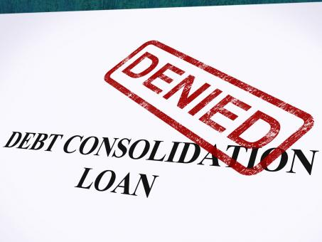 Free Stock Photo of Debt Consolidation Loan Denied Stamp Shows Consolidated Loans Refused