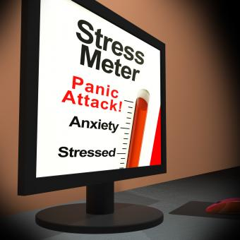Free Stock Photo of Stress Meter On Laptop Showing Panic Attack