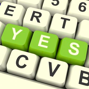 Free Stock Photo of Yes Computer Keys Showing Approval And Support
