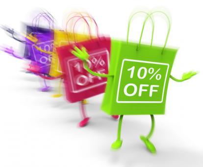 Free Stock Photo of Ten Percent Off On Colored Bags Show Bargains