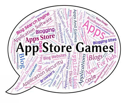 Free Stock Photo of App Store Games Shows Retail Sales And Application