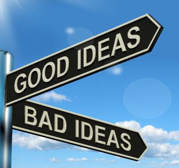 Free Stock Photo of Good Or Bad Ideas Signpost Showing Brainstorming Judging Or Choosing