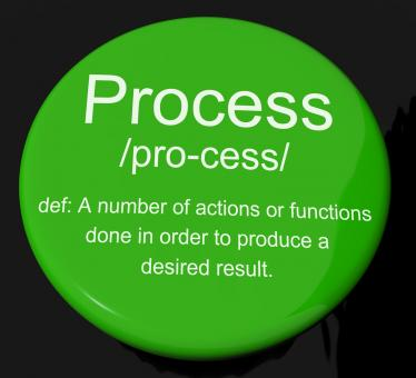 Free Stock Photo of Process Definition Button Showing Result From Actions Or Functions