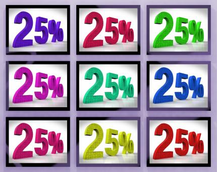 Free Stock Photo of 25 On Monitors Shows Special Offers And Reductions