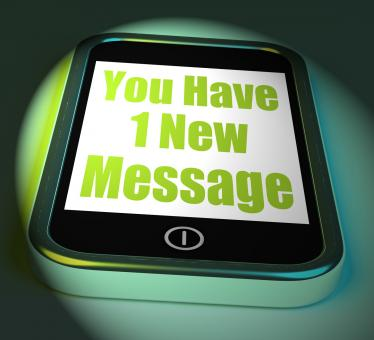 Free Stock Photo of You Have 1 New Message On Phone Displays New Mail