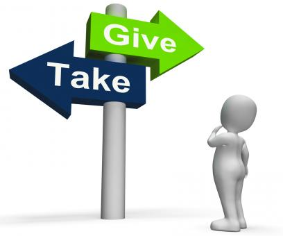 Free Stock Photo of Give Take Signpost Shows Giving and Taking